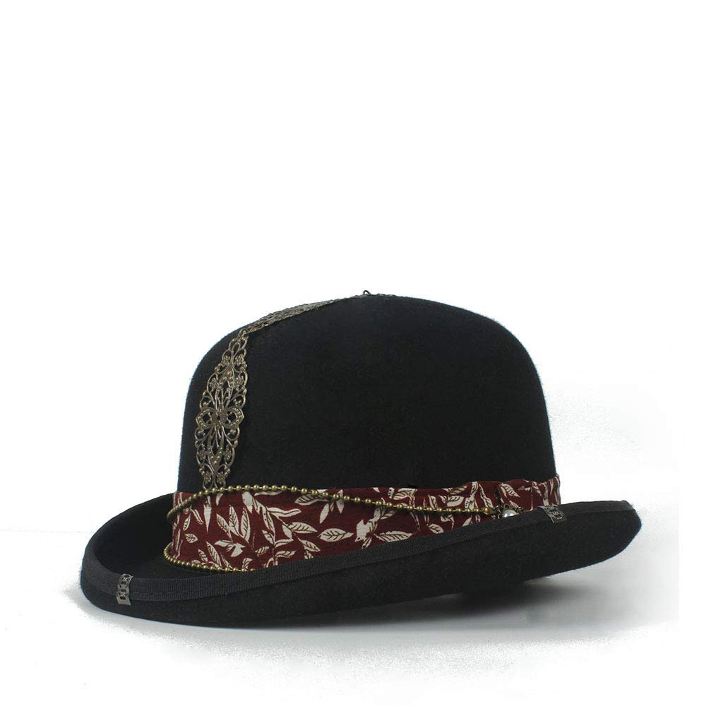 LL Women's Vintage Steampunk Red Plus Metal Decoration with Black Top Hat Universal Couple Brown Fedora Party Hat Headgear (Color : Black, Size : 57cm) by LL (Image #3)