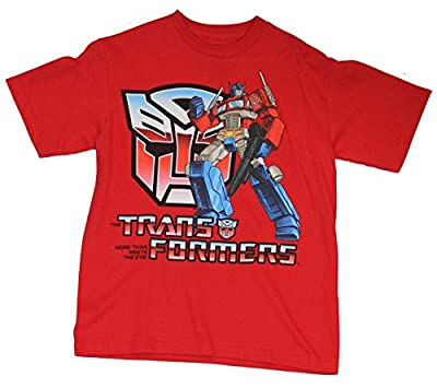 Transformers Mens T-Shirt - Optimus Prime Posed Next to Autobot Logo