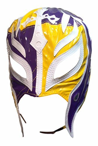 Main Street 24/7 WWE Licensed Rey Mysterio Youths Kid Size Half Purple Half Yellow Leather Pro Grade Mask by Main Street 24/7