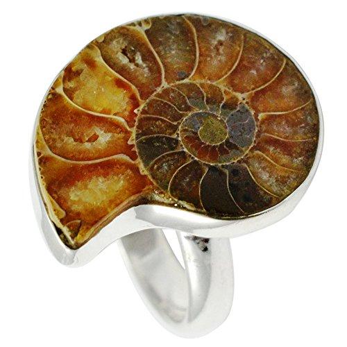 Lovegem Genuine Ammolite Fosil RING 925 Sterling Silver,Size: 6.25, AR2934