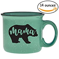 Cute Girly Coffee Mug for Mom, Women - Mama Bear - Teal - Unique Fun Gifts for Her, Wife, Mom, Under $20 - Handmade Coffee Cups & Mugs with Quotes, 14 oz