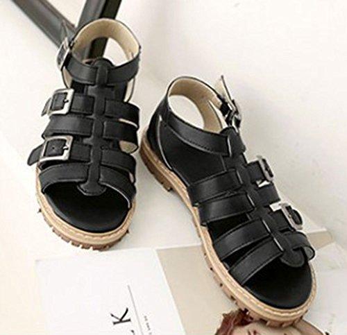 Sfnld Womens Trendy Buckle Gladiator Flat Lug Sole Sandals Black igya4YOj