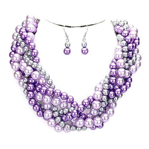 - Fashion 21 Women's Simulated Faux Braided, Twist Multi-Strand Pearl Statement Necklace and Earrings Set (Braided - Lavender Mix)