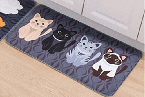 Carpet Animals - Cat Printed For Bathroom Kitchen Carpets- Carpet Flocking for Living Room Anti-Slip Tapete- Size 50 80 cm