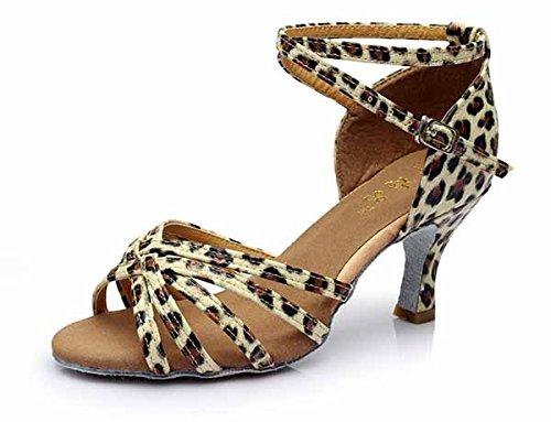 YFF Neue Women's Ballroom Latin Tango Schuhe 5 cm und 7 cm hohem Absatz,Leopard 7 cm,5.