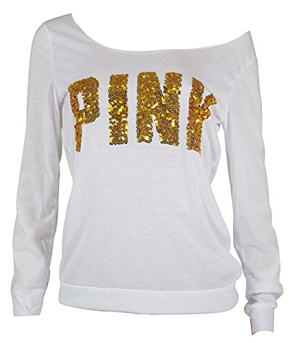 CFD Womens Casual Crew Neck Letter Print Long Sleeve Sweatshirt 1 M
