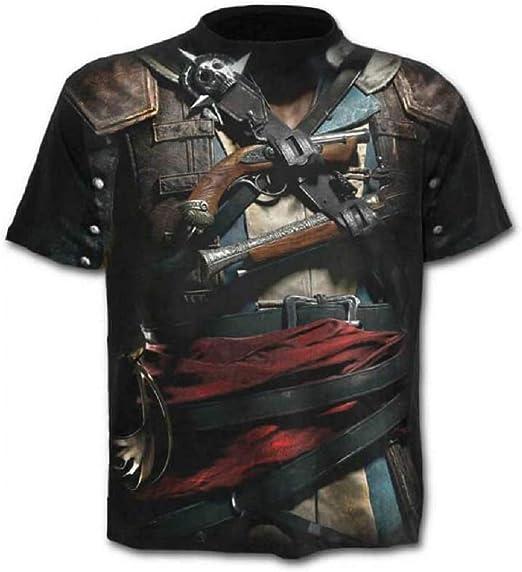 C07 - Camiseta - Camiseta - Camisa - 3D - Manga Corta - Hombre - Mujer - Unisex - Divertido - Idea de Regalo - Cosplay - Pistolero - Pirata - gótico - corsario - Pistola: Amazon.es: Ropa y accesorios