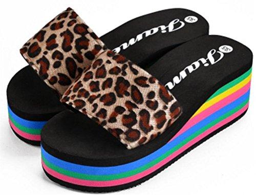Plataforma De Mujer Sandalias De Cuña De Tacón Alto Zapatillas Simples De Leopardo Marrón