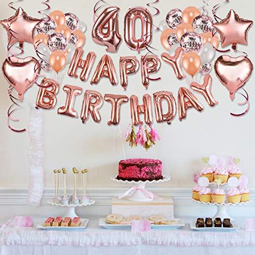 Howaf Decoración de cumpleaños 40 en Oro Rosa para Mujeres, 59 Piezas Feliz cumpleaños Decoración Globos Guirnalda Banner 40 Años Globos de Confeti y ...
