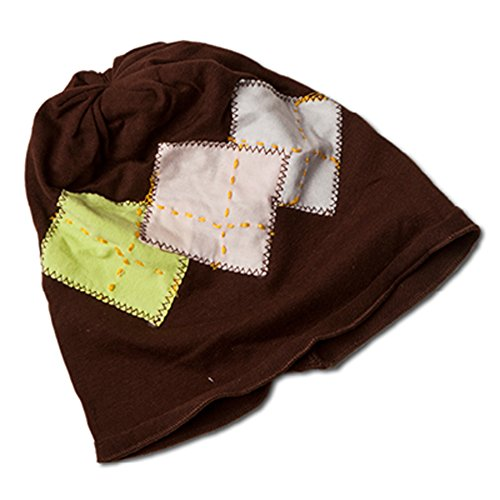 Infant Toddler Girl Boy Fashionable Comfy Stretchy Cotton Knit Beanie Hat (Brown with Argyle Pattern)