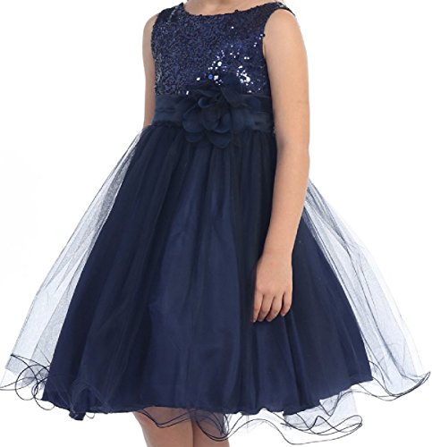Big Girls' Sequin Junior Bridesmaid Wedding Pageant Flower Girl Dress Navy Size 16.5 (K305D) -