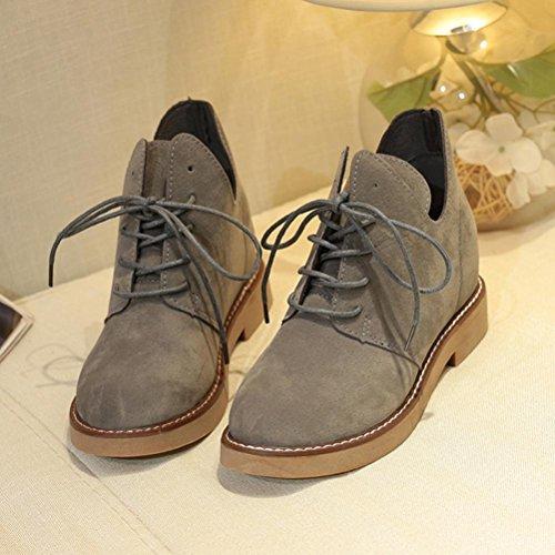 Botas Mujer,Ouneed ® Moda británica estilo Martin botas botas de tacón plano Casual Gris