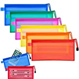 LOAZRE 12pcs Zipper File Bags 6 Colors Waterproof Grid Double Layer PVC Plastic Bag Stationery Bag for Pencil Pouch Cosmetics Supplies Travel