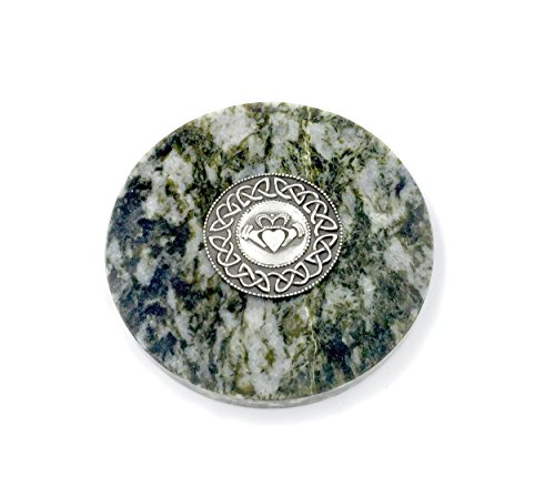 Claddagh Medallion - Irish Claddagh Medallion on Connemara Marble Paperweight