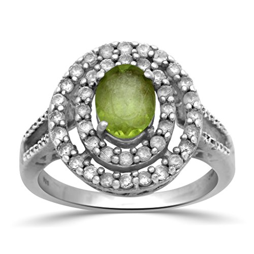 Jewelili Sterling Silver Oval Peridot with Created White Sapphire and Diamond Accent Double Halo Ring, Size 7