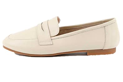 Women's Genuine Leather Low-Heeled Penny Loafers Size 4.5-7.5 Beige/Camel/Black