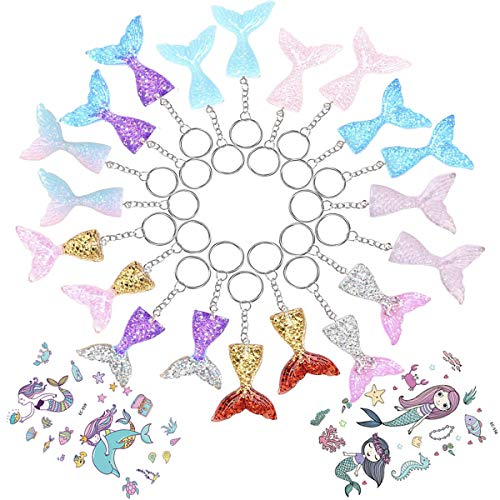 Youwith Joy 18-Pack Mermaid Keychains Key Ring Decoration Birthday Party Favors Supplies, Perfert Mermaid Craft Gift Novel Prizes for Kids, 10 Magic Colors -