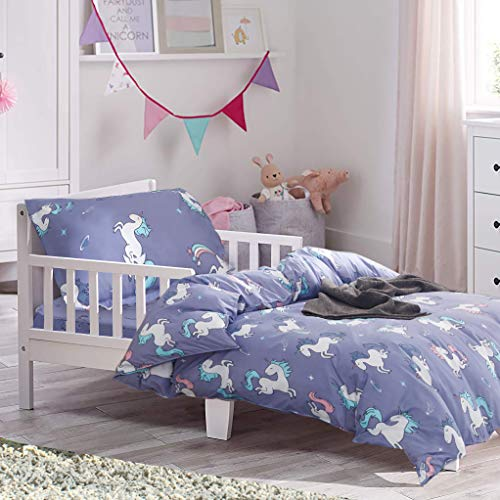 Adorable 4 Piece - Uozzi Bedding 4 Piece Blue-Gray Unicorn Toddler Bedding Set with Rainbow Stars - Includes Adorable Quilted Comforter, Fitted Sheet, Top Sheet, and Pillow Case - Cute Design