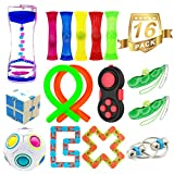 H-Partner 16 Pack Relieves Stress and Increase Focus Bundle Sensory Toys-Fidget Chain/Infinity Magic Cube/Liquid Motion Timer/Fidget Pad/Rainbow Magic Ball Cube/Squeeze Bean Toys for ADD ADHD