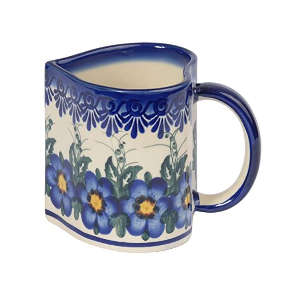 Traditional Polish Pottery, Handcrafted Ceramic Heart-shaped Mug (250ml / 8.8 fl oz), Boleslawiec Style Pattern, Q.801.PANSY