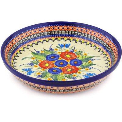 Polish Pottery Pie Dish 10-inch Spring Splendor UNIKAT by Polmedia Polish Pottery
