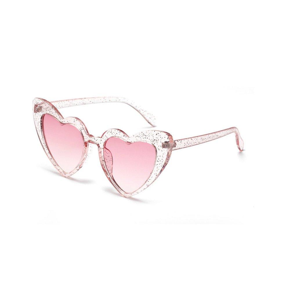 MINCL/New Fashion Love Heart Sexy Shaped Sunglasses For Women Girls Brand Designer Sunglasses UV400 (bling bling)