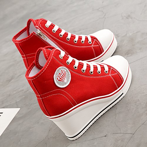 Padgene Women's Sneaker High-Heeled Fashion Canvas Shoes High Pump Lace UP Wedges Side Zipper Shoes Red 3