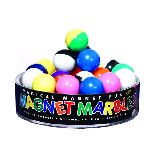 Dowling Magnets Magnet Marbles (.63 inch in diameter), Set of 20 in clear dish
