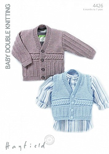 Amazon Hayfield Baby Cardigan Waistcoat Knitting Pattern 4426