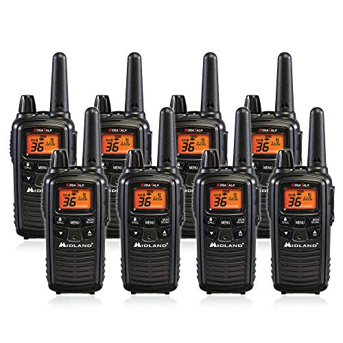 Midland LXT600VP3 36 Channel FRS Two-Way Radio - Up to 30 Mile Range Walkie Talkie - Black (Pack of 8) ()
