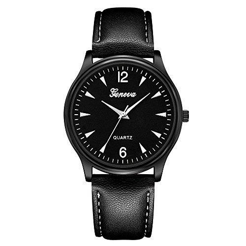 XGUMAOI Faux Leather Mens Blue Ray Glass Quartz Analog Watches Clock Wrist Watch (E)