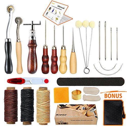 Leather Sewing Tools SIMPZIA 17 Pieces Leather Tools Craft DIY Hand Stitching Kit with Groover Awl Waxed Thimble Thread for Sewing Leather, Canvas or Other Leathercraft Projects