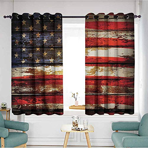Beihai1Sun Thermal Insulating Blackout Curtains,American Flag,Us Symbolism Over Old Rusty Tones Weathered Vintage Social Plank Artwork,Multicolor,Insulated with Grommet Curtains for Bedroom,W55x72L
