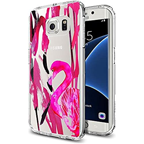 Pink Flamingo Water Color Art Latest Clear Soft TPU Samsung Galaxy S7 Edge Case Design Sales