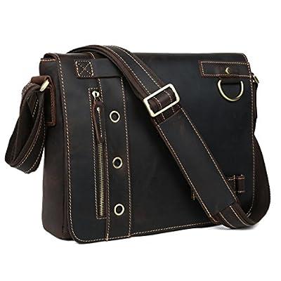 3927710593bd durable modeling Tiding Men s Real Leather Messenger Shoulder Bag School  Book Bag 10066