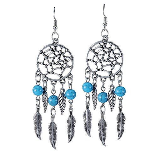 Hosaire Dangle Earrings Girls Vintage Hollow Dream Catcher Feather Drop Earring for Womens Jewelry Style 1
