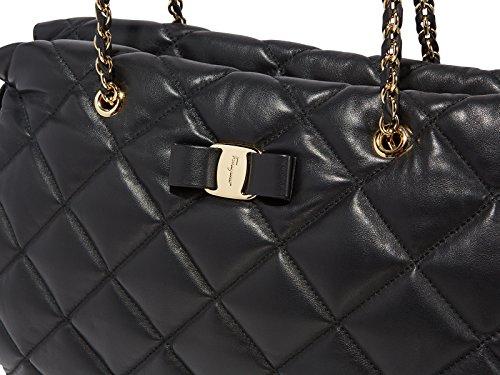 7e1cb117e6d8 Amazon.com  Salvatore Ferragamo Women s Ginette Large Quilted Nappa Vara Bag  (Black)  PORTMANTOS