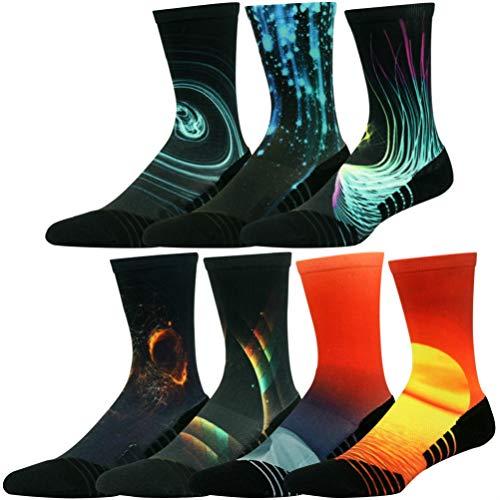 HUSO Men's Women's Youth Galaxy Colorful Athletic Crew Socks Seamless Light Cushion Mid Calf Crew Socks 7 Pairs (Multicolor, L/XL)