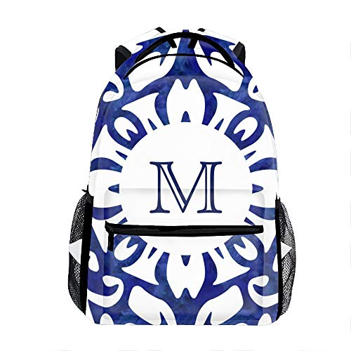 Casual Backpack Blue And White Watercolor Spanish Print School Bag Travel ()