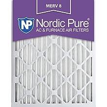 Nordic Pure 20x25x2M8-3 MERV 8 Pleated AC Furnace Air Filter, 20x25x2, Box of 3
