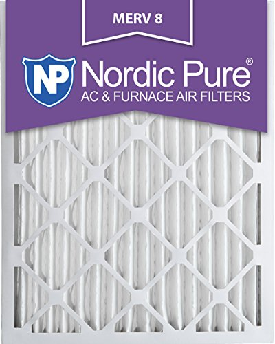 Nordic Pure 20x24x2M8-3 MERV 8 Pleated AC Furnace Air Filter, 20x24x2, Box of 3