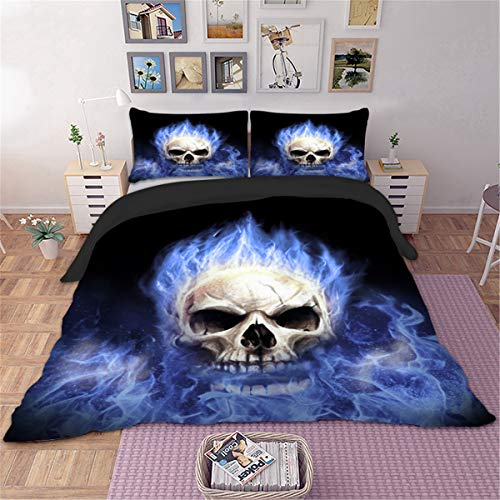 (3D Skull Duvet Cover Queen Gothic Tattoo Bedding Set Blue Fire Skeleton Quilt Cover with 2 Pillowcase and Zipper Closure Microfiber Polyester Queen Size 90