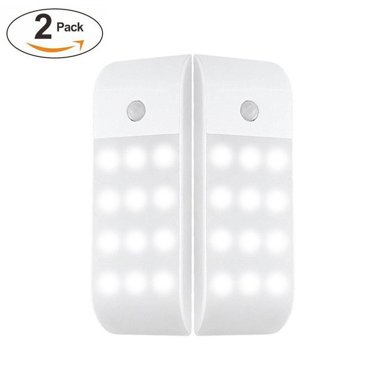Geefawa Motion Sensor Closet Light Rechargeable LED Wall Night Light Lamp Stick-on Anywhere Stair Lights Magnetic Security Lights for Hallway, Bathroom, Stairs, Garage (2 Pack) by Geefawa