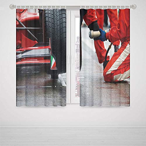YOLIYANA Man Cave Decor Blackout Curtains,Professional Racing Team at Work Pit Stop Racecar Fast Tyre Changing Image,Living Room Bedroom Window Drapes, 2 Panel Set,59W X 65L Inches ()