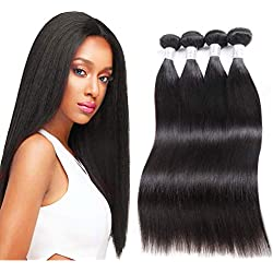 Brazilian Virgin Straight Human Hair 4 Bundles(18 20 22 24), 8A Unprocessed Brazilian Straight Virgin Hair Weave Bundles, Remy Human Hair Weave Weft Extensions, Can Be Dyed And Bleached, Natural Color