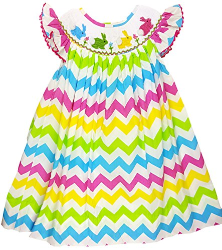 Make Bishop Dress (Angeline Baby Girls Easter Bunny Smocked Bishop Dress Colorful Chevron 12M)