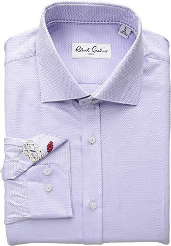 (Robert Graham Mens Curto Solid Chevron Long Sleeve Dress Shirt Lavender 16.5 (LG))
