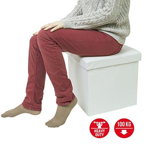 Pleasing Tatkraft Blanc Ottoman Folding Storage Pouffe Toy Box Foot Evergreenethics Interior Chair Design Evergreenethicsorg