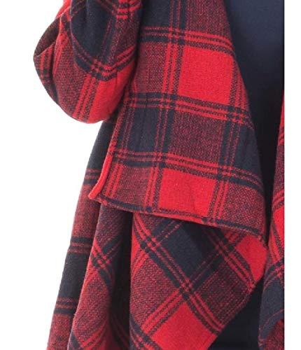 Plaid Coat Red Collar Woolen RkBaoye Down Turn Cardigan Long Sleeve Women's qnwOt1T