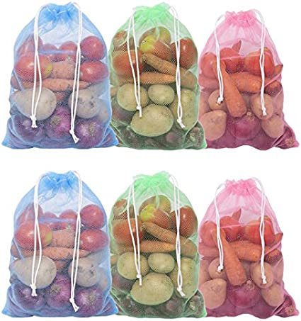 HomeStrap Set of 12 Reusable Double Layer Mesh Fridge Bags for Storage of Fruits & Vegetables